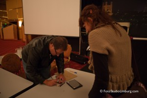 Scott signing the DVD's